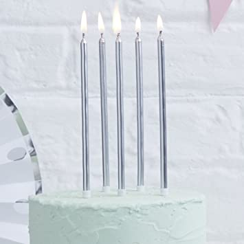 Ginger Ray Silver Metallic Tall Birthday Cake Designer Candles 24 Pack