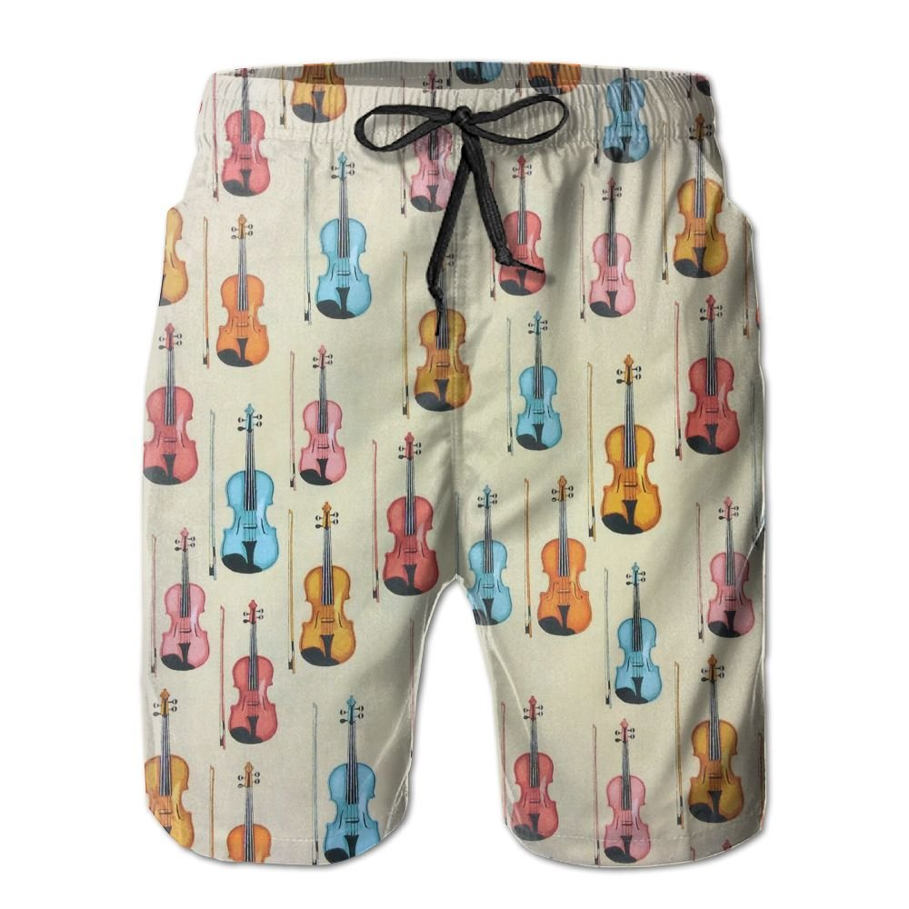 Men Quick Dry Summer Shorts Boardshorts Colorful Violin Pattern