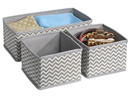 mDesign Fabric Storage Boxes for Dressers Drawers and Wardrobes 3 Boxes - Ideal  sc 1 st  Amazon UK & mDesign Fabric Storage Boxes for Dressers Drawers and Wardrobes 3 ...