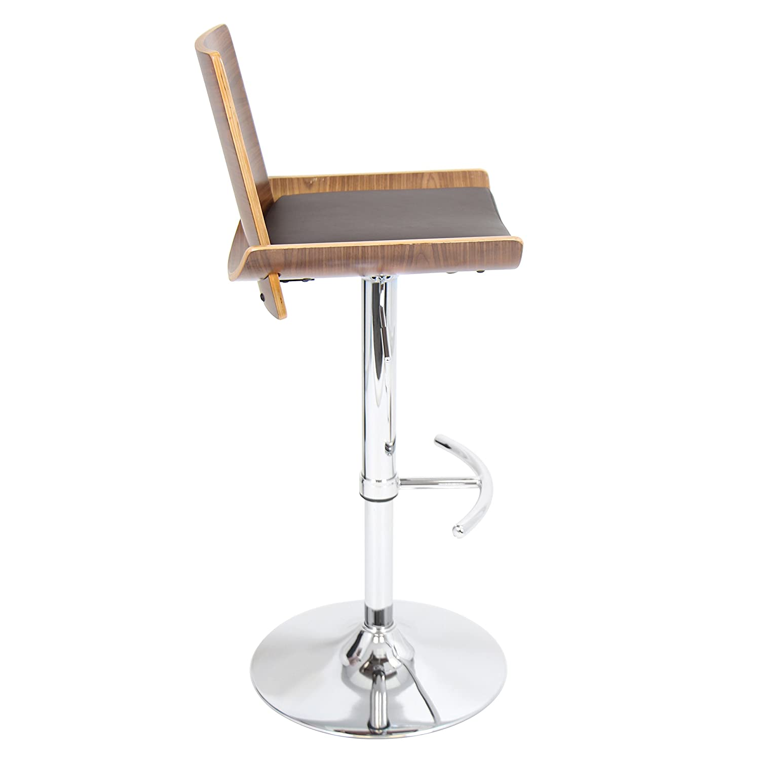 WOYBR Pu Leather, Bent Wood Vittorio Barstool, 43.25 x 18 x 17.5 , Walnut and Brown Matte