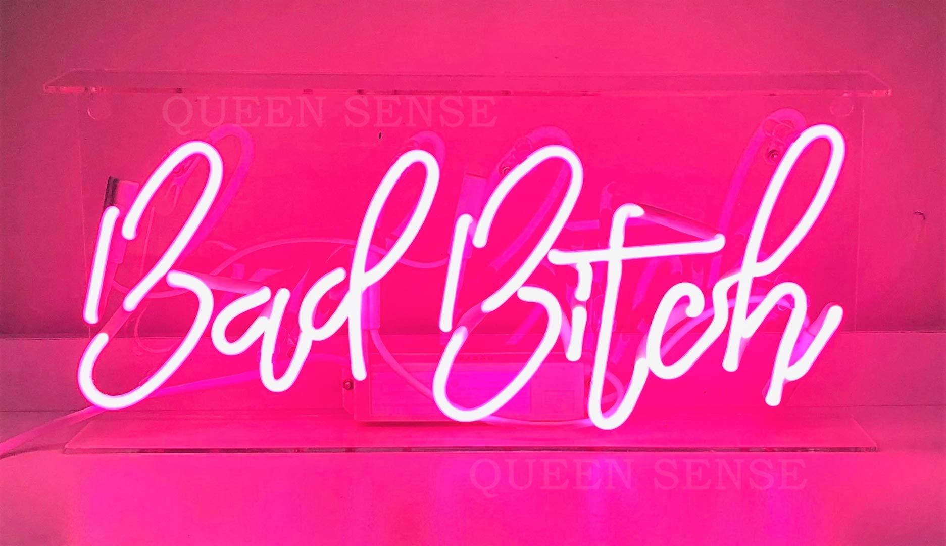 Queen Sense 14'' Bad Bitch Neon Sign Light Decorated Acrylic Panel Handmade Beer Bar Pub Man Cave Lamp UT198 by Queen Sense