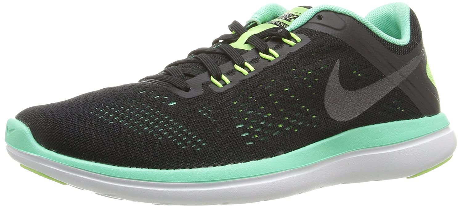NIKE Women's Flex 2016 Rn Running Shoes B01CJ2SNAA 10 B(M) US|Black/Metallic Dark Grey/Green Glow/White