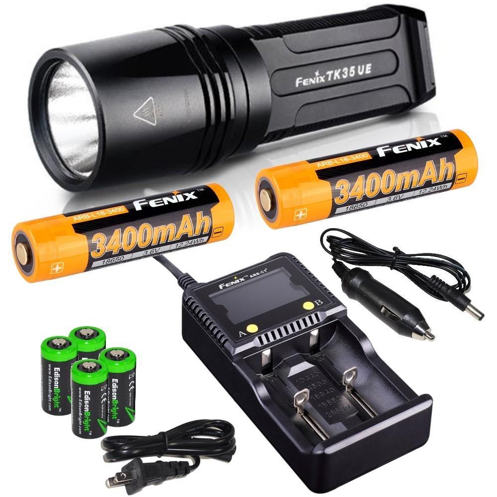 FENIX TK35 2000 lumen Ultimate Edition LED Tactical Flashlight with 2 x Fenix ARB-L2S 3400mAh 18650 Li-ion rechargeable batteries, 4 X EdisonBright CR123A , Fenix car/home battery charger bundle