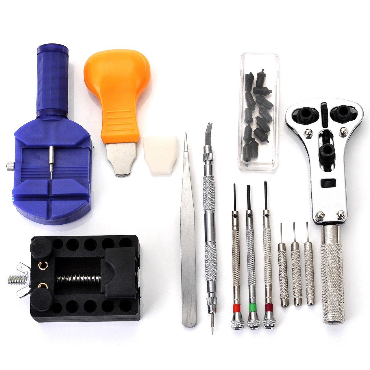 JSDDE Uhrenwerkzeugset 13-teilig in Nylontasche Uhrwerkzeug Uhrmacherwerkzeug Reparatur Set für jedermann