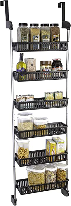 Smart Design Over The Door Pantry Organizer Rack w/ 6 Baskets - Steel & Resin Construction w/Hooks - Hanging - Cans, Spice, Storage, Closet - Kitchen (18.5 x 63.2 Inch) [Black]