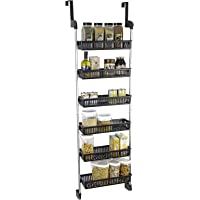 Smart Design Over The Door Adjustable Pantry Organizer Rack w/ 6 Adjustable Baskets - Steel & Resin Construction w/Hooks - Cans, Food, Misc. Item - Kitchen (18.5 x 63.2 Inch) [Black]