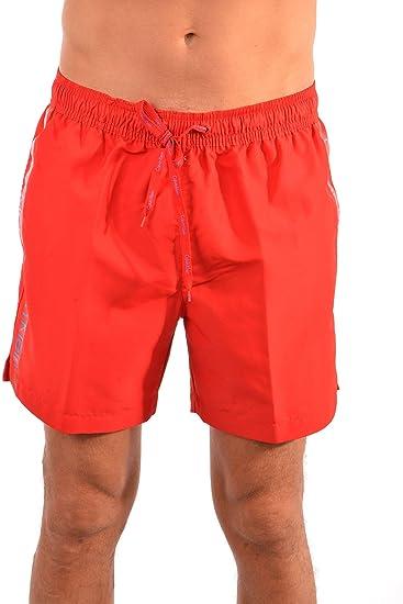b91e7dc7a32d1 Calvin Klein Logo Tape Men's Swim Shorts, Salsa Red: Amazon.co.uk ...