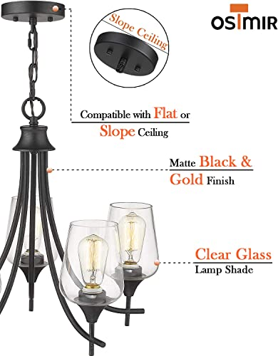 Osimir 5-Light Chandeliers, Modern Dining Pendant Lighting in Matte Black Gold Finish with Clear Glass Lamp Shade, Hanging Glass Pendant Light CH9167-5B
