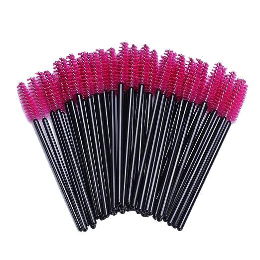 BTYMS 100 Pack Disposable Eyelash Mascara Brushes Wands Applicator Makeup Brush Kits Pink