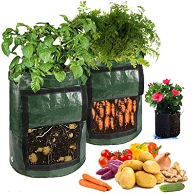 Shangjie Town Smart Plant Grow Bags for Potato/Plant Container/Flowers Pots/Garden Decoration with Handles : Garden & Outdoor