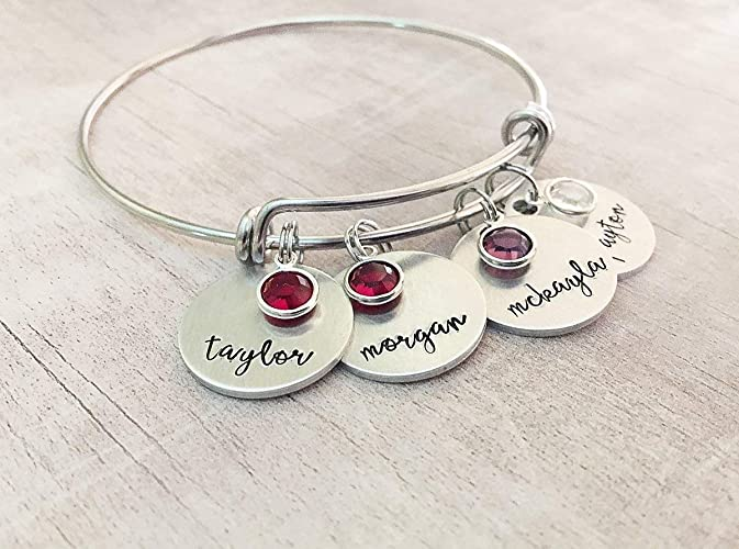 667535f794abd Amazon.com: Personalized Name Bracelet for Mom With Birth Month ...