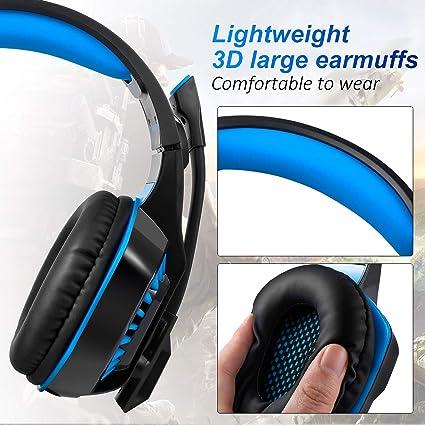 Auriculares para Juegos, Muzili GameK-2 LED Auriculares Gaming Cascos para Computadora con Micrófono y Control de Volumen para Teléfono Inteligente PC PS4 ...