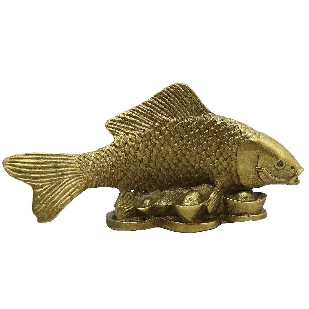 Brass Money Fish Statue Decor Golden Figurine Decoration Gift Collectible (one)