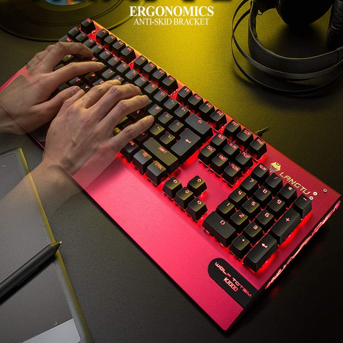 Color : Red Pink Gray Office Hand Support Green Axis Black Axis Computer Wired Keyboard Black Silver HUIJUNWENTI Mechanical Keyboard White Red Game Dedicated
