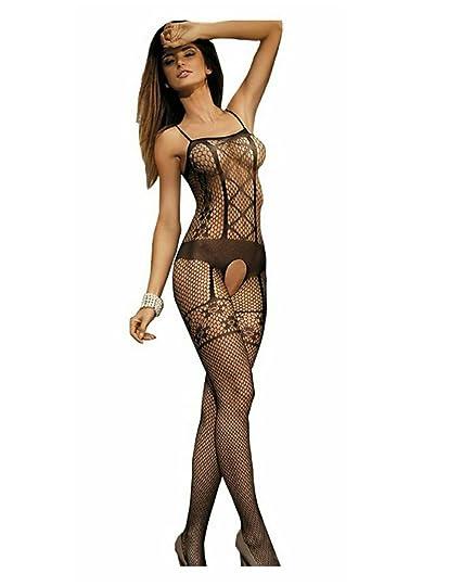 5132cb0a705 Amazon.com  Sexy Bodystocking Bodysuit Tights Lingerie (Black)  Clothing