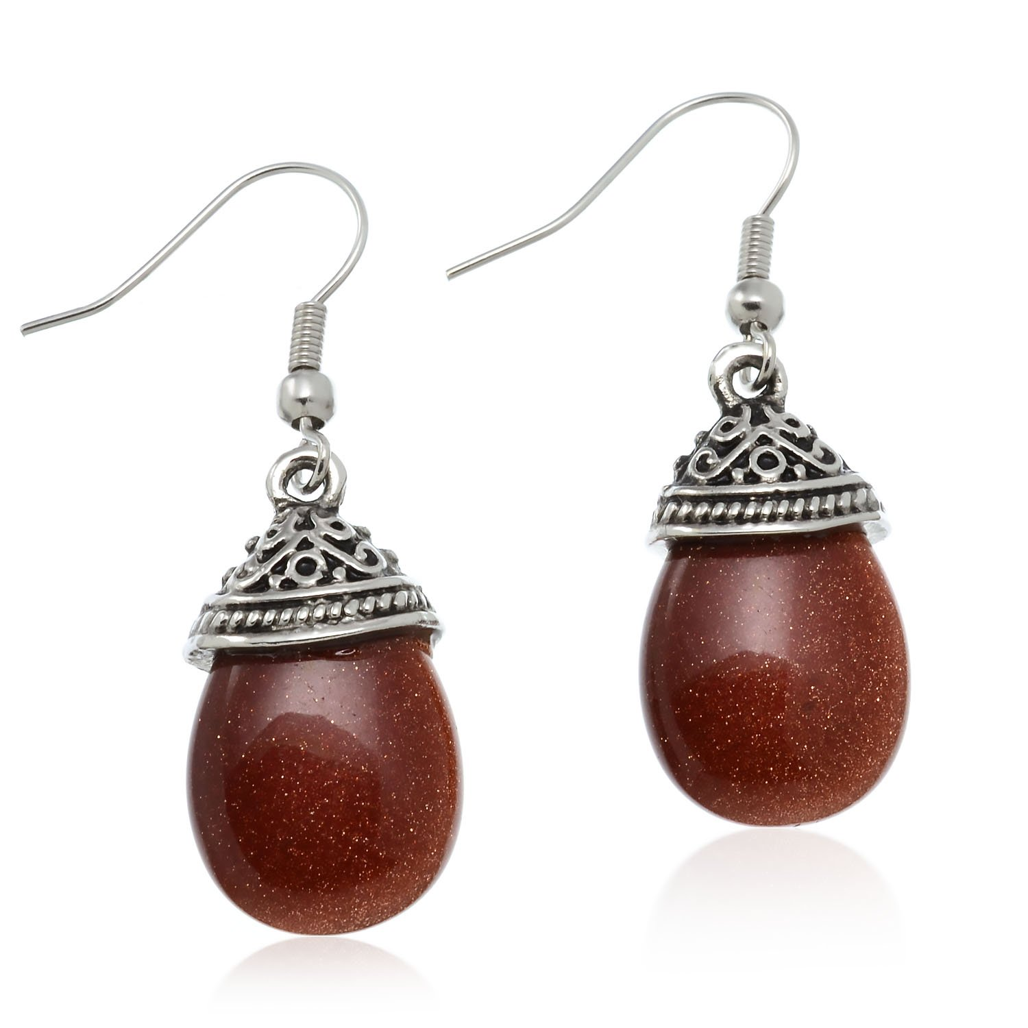 PammyJ Reddish Brown Sand Stone Silvertone Dangle Earrings