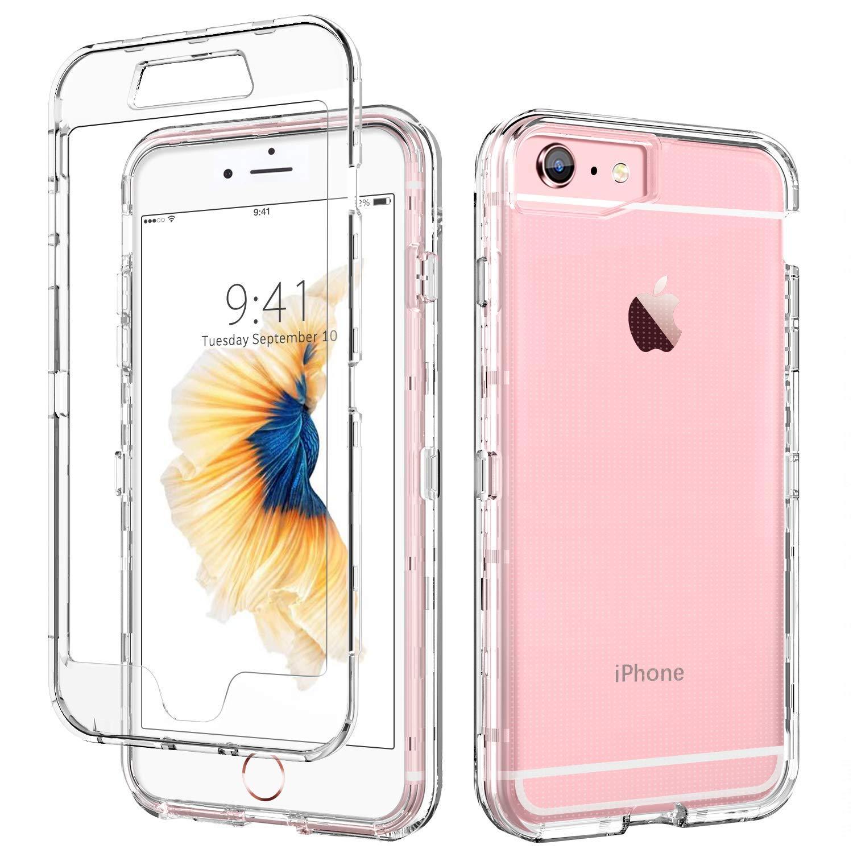 iPhone 6ケースクリア、iPhone 6Sケース、DUEDUE耐衝撃ドロッププロテクション3 in 1ハイブリッドハードクリアPCカバー透明TPUバンパーフルボディ保護クリアケースfor iPhone 6S / iPhone 6、クリア   B07PRZ6151