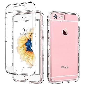DUEDUE Funda iPhone 6s, Funda iPhone 6 Transparente Cristal Resistente Cuerpo Completo Antigolpes 3 en 1 Carcasa Combinada Claro Dura PC Bumper y ...