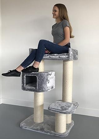 Rascador para gatos grandes Devon Rex Gris claro baratos arbol xxl maine coon gato adultos con hamaca gigante sisal muebles sofa escalador torre Árboles rascadores cama cueva repuesto medianos: Amazon.es: Productos para
