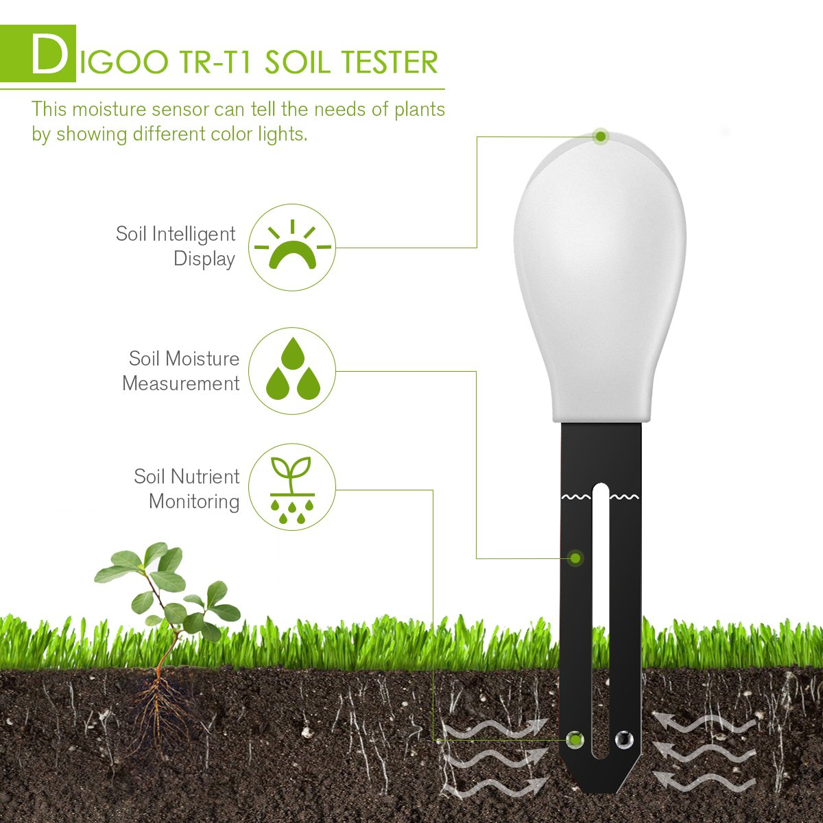 DIGOO DG-TRT1 3 in 1 Soil Tester Moisture Meter, Garden Potted Intelligent Plant Detector, Nutrient Monitor Light Tester White by DIGOO (Image #4)