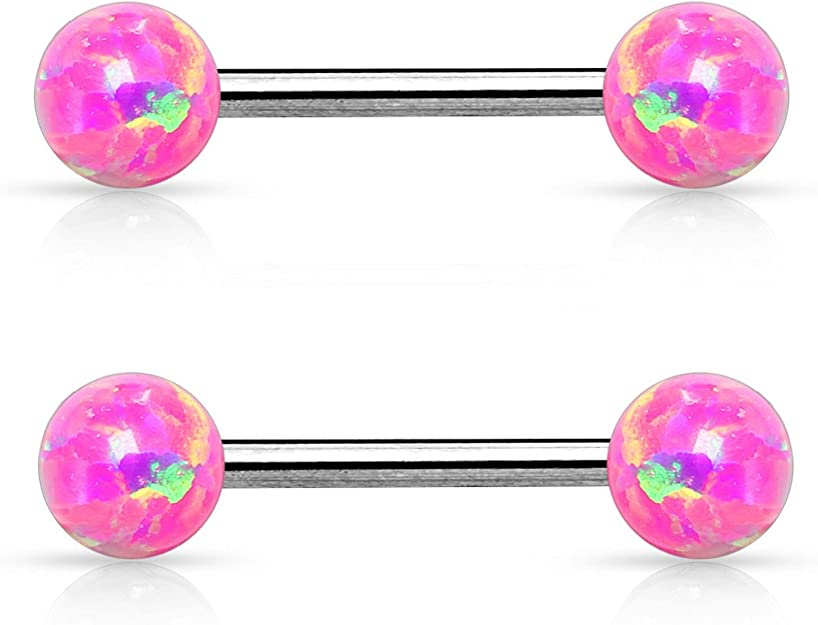 316L Surgical Steel Nipple Ring Bar with Pink Crystal Set Silver Flower Ends