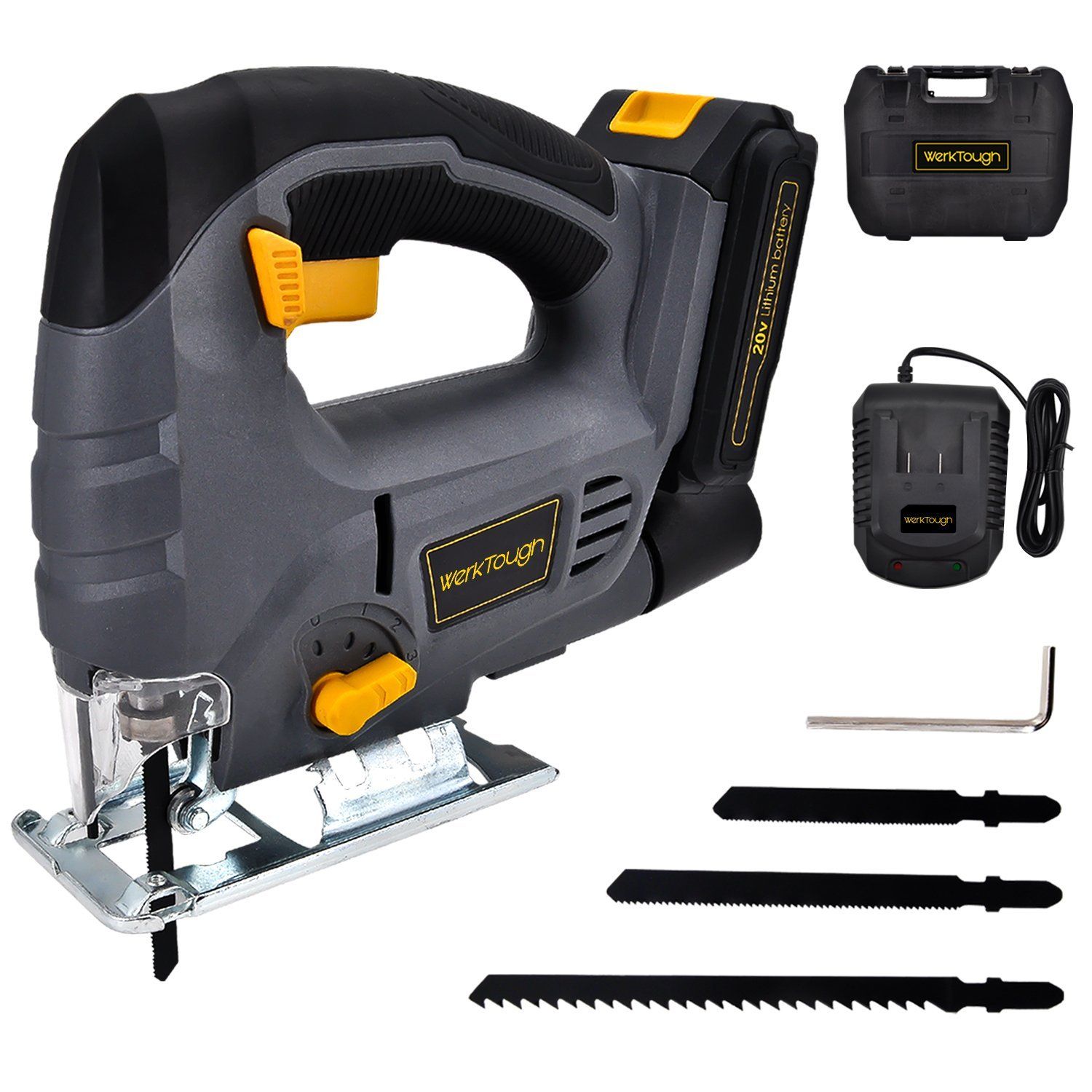 20V Li-ion Cordless Jig Saw Battery Charger Included by Werktough JS02