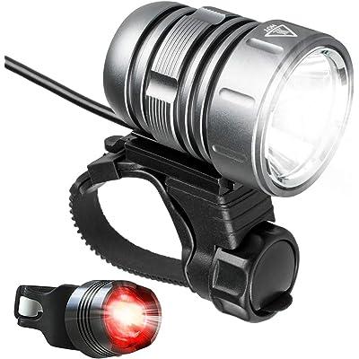 Luces Bicicletas, Impermeable Luz Bicicleta Recargables por USB, Brillante LED de 1200 Lúmenes Luz para la Bicicleta Delantera Luz de la Cola Kit con Paquete de Batería - Gris