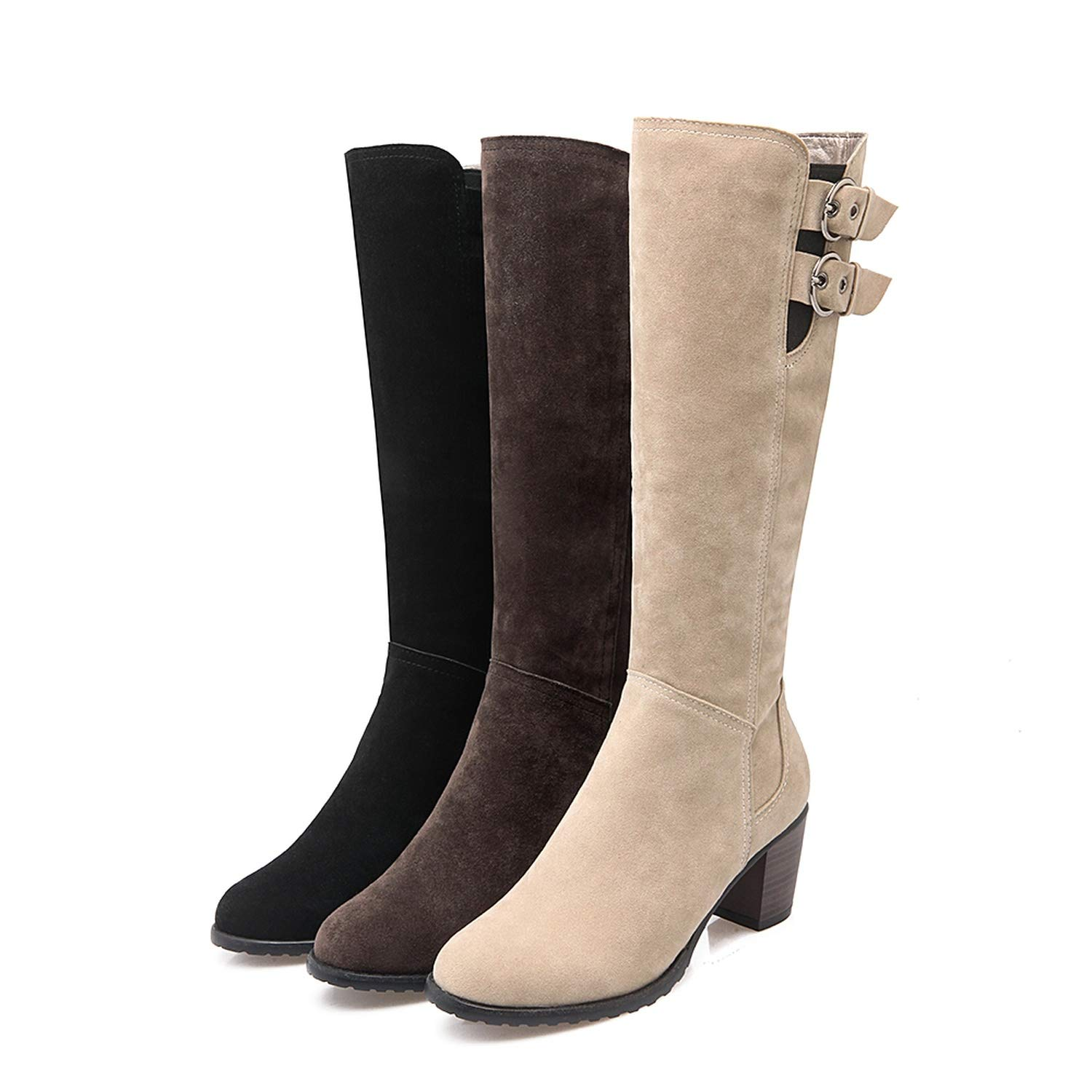 Women Boots Plus Size Med Square Heel Round Toe Knee-High Zip Woman Shoes Winter Boot