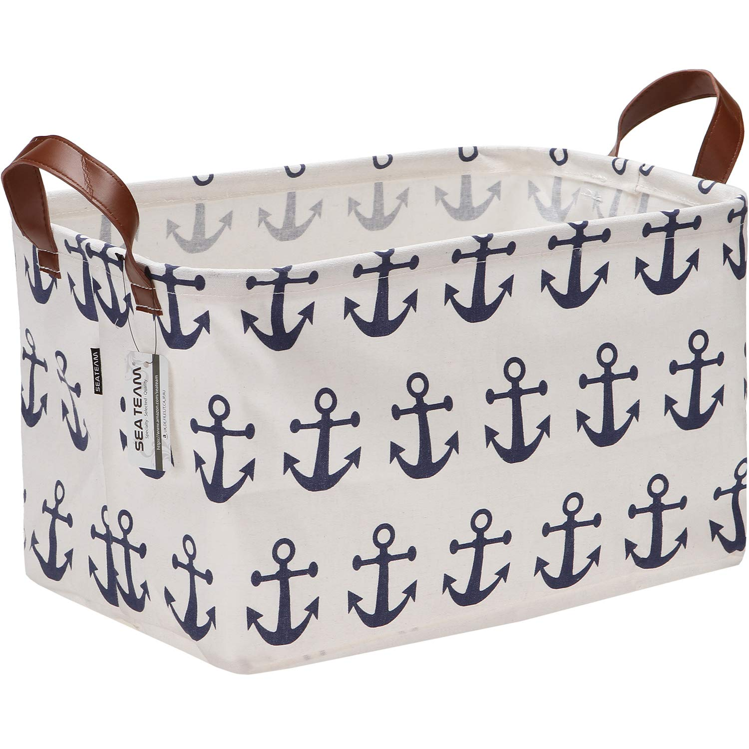 Sea Team Large Size Canvas Storage Bin Collapsible Shelf Basket Toy Organizer with Nautical Anchor Pattern, 16.5 by 11.8 inches, Navy Blue