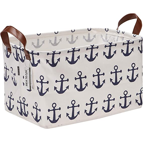 16.5 by 11.8 inches Grey Sea Team Large Size Canvas Storage Bin Collapsible Shelf Basket Toy Organizer with Nautical Anchor Pattern