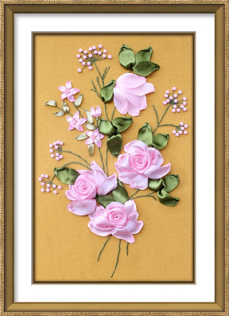 Ribbon Embroidery Kit,Fanryn 3D Silk Ribbon Embroidery Pink Peony Flowers Pattern Design Cross Stitch Kit Embroidery for Beginner DIY Handwork Home Decoration Wall Decor 50x40cm (No Frame)