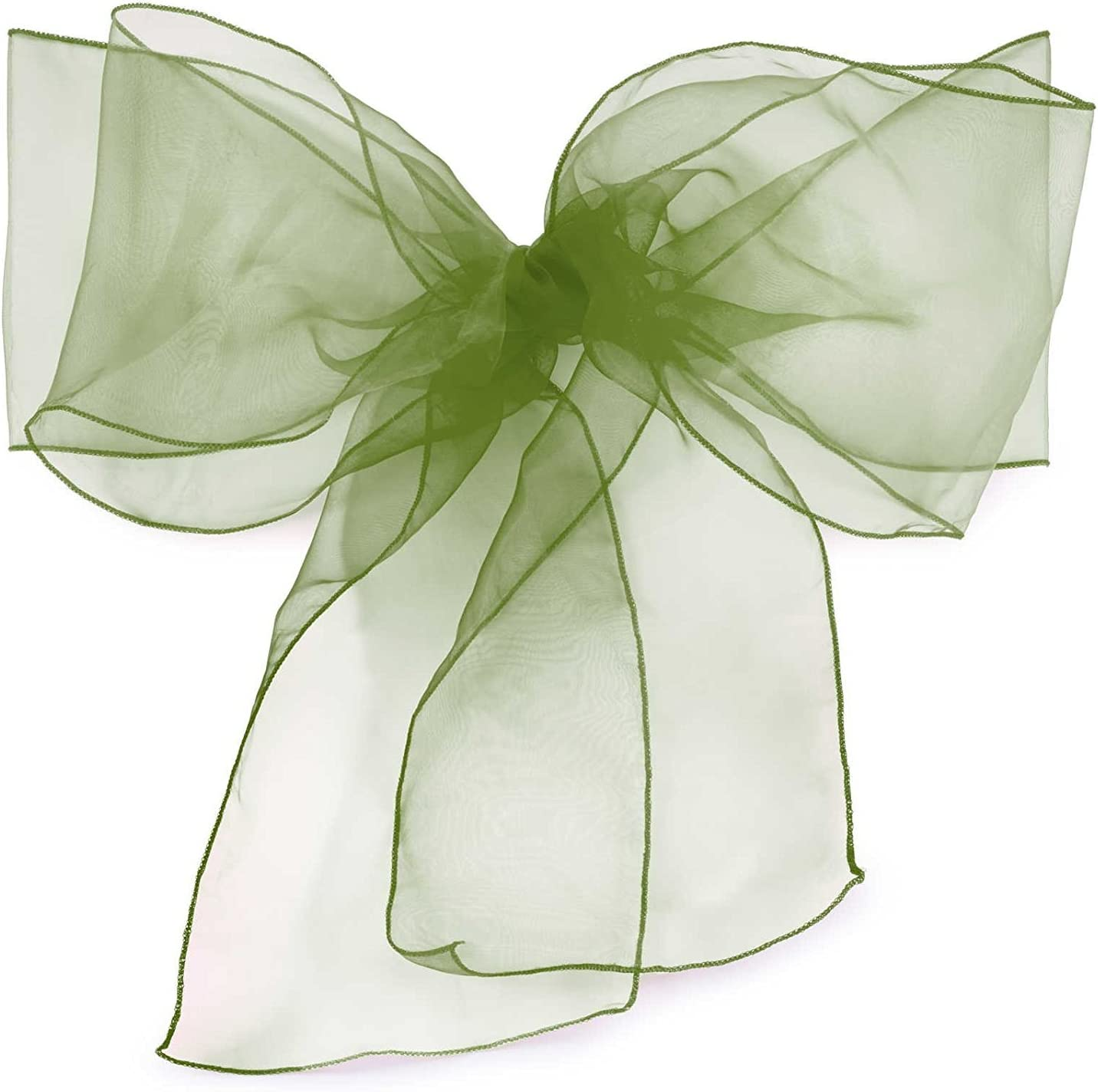 Elina Home Pack of 10 Organza Net Chair Cover Bow Sash Wedding Banquet Decor Coral (10, Bottle Green)