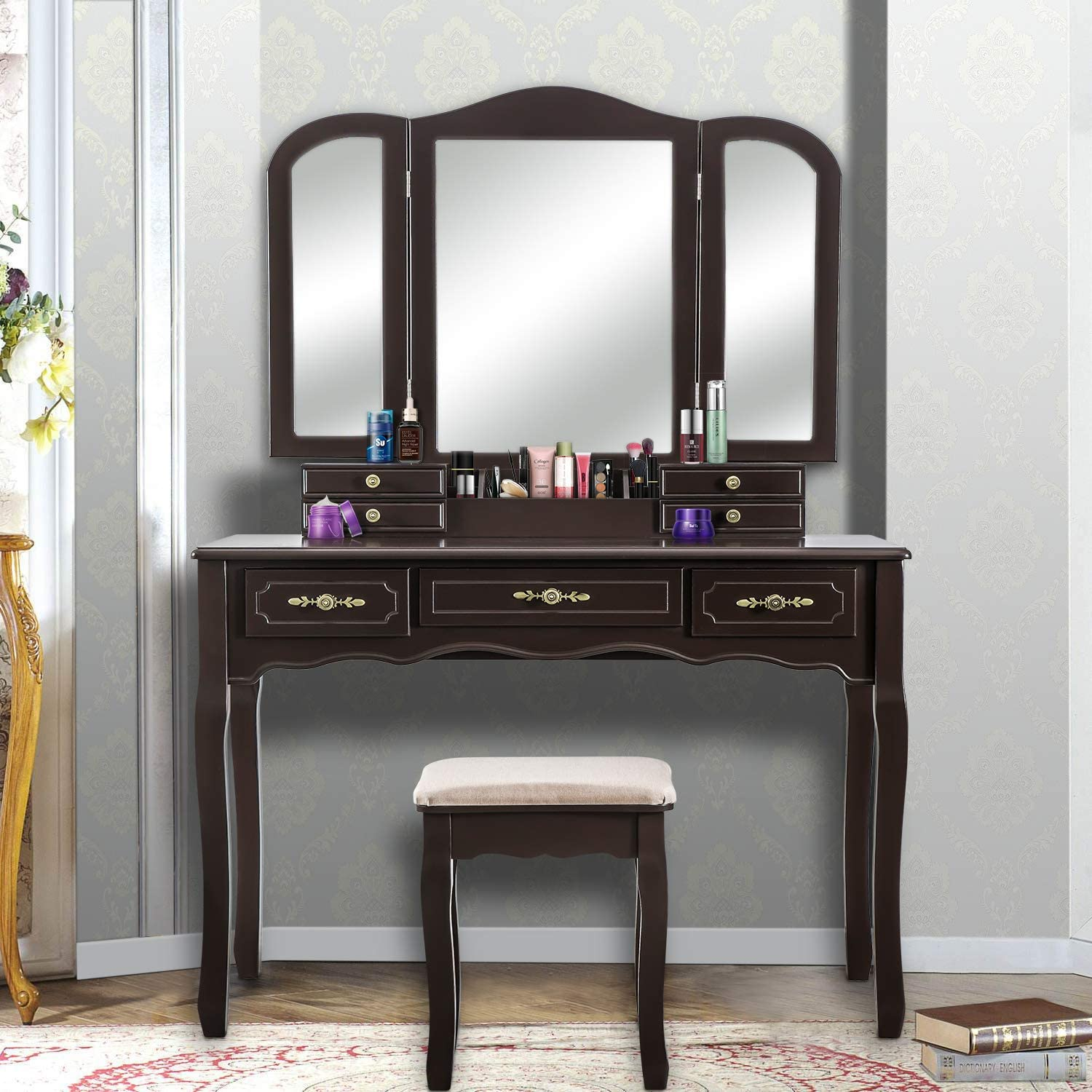 YOUKE Vanity Set, Tri-Folding Necklace Hooked Mirror, 7 Drawers, Makeup Dressing Table with Cushioned Stool Easy Assemble Brown