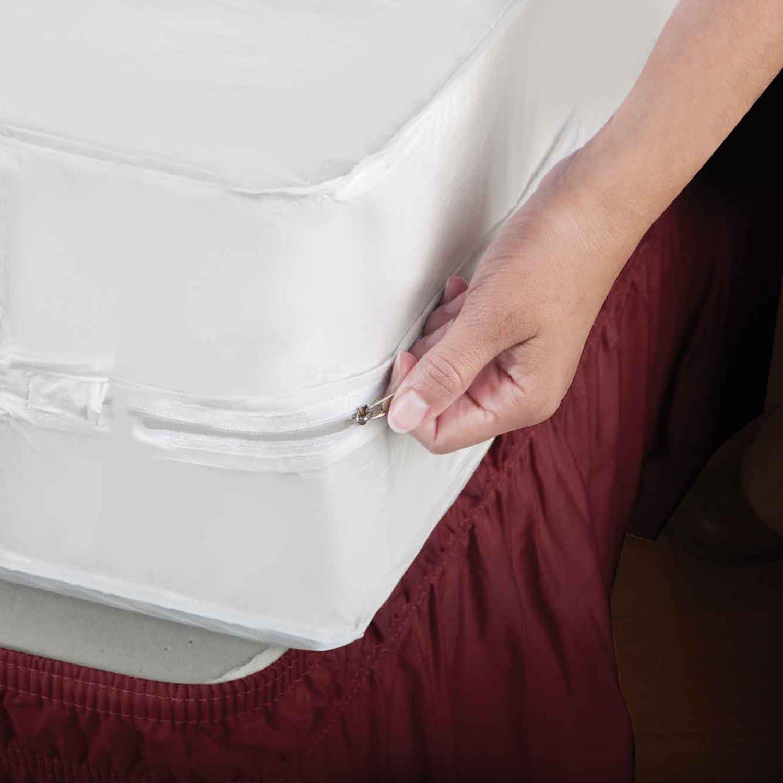 Home Basics SB01765 PVC Zippered Mattress Cover, Twin, White