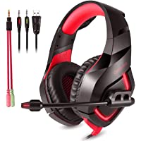 ONIKUMA K1B Stereo Gaming Headset with Mic, Controls and LED light for PC, PS4, Xbox and Mobiles (Black/Red)