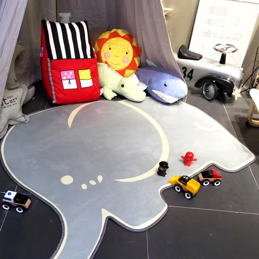 HILTOW Baby Children Elephant Plush Play Carpet Crawling Blankets Sleep Mat Play Mat(Gray)