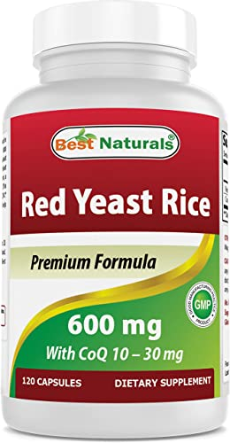 Best Naturals Red Yeast Rice with CoQ10, 120 Capsules – Cardiovascular Formula Contains 600 mg of Red Yeast Rice ans 30 mg of CoQ10