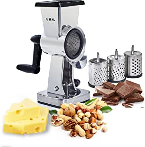 Rotary Cheese Grater Stainless Steel Body Chocolate Drum Slicer Shredder Cutter Nut Grinder with 3 Interchangeable Sharp Drums Slicer 7.5 Inch High