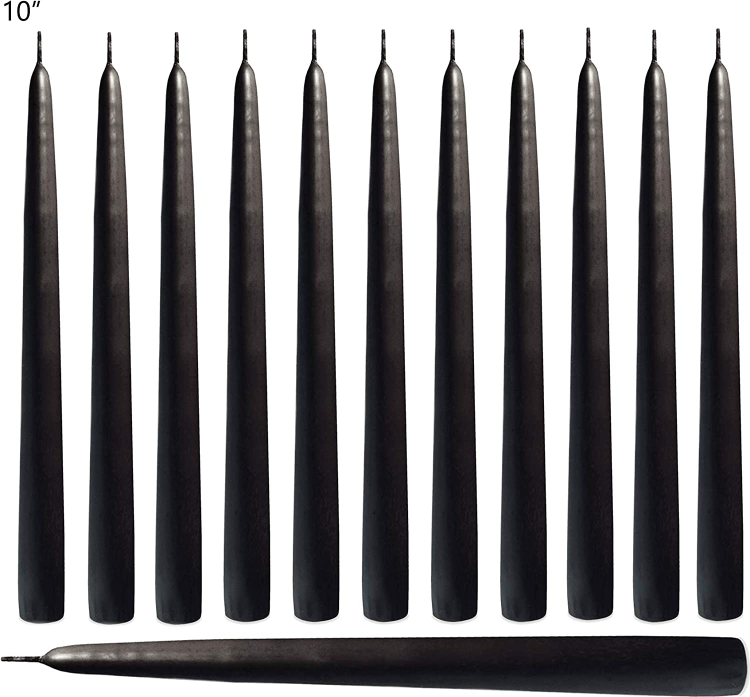 Smokeless Unscented 10 inch Tall Candlesticks Great for Table Centerpiece Decoration Gift Set of 14 Ahyiyou Black Taper Candles