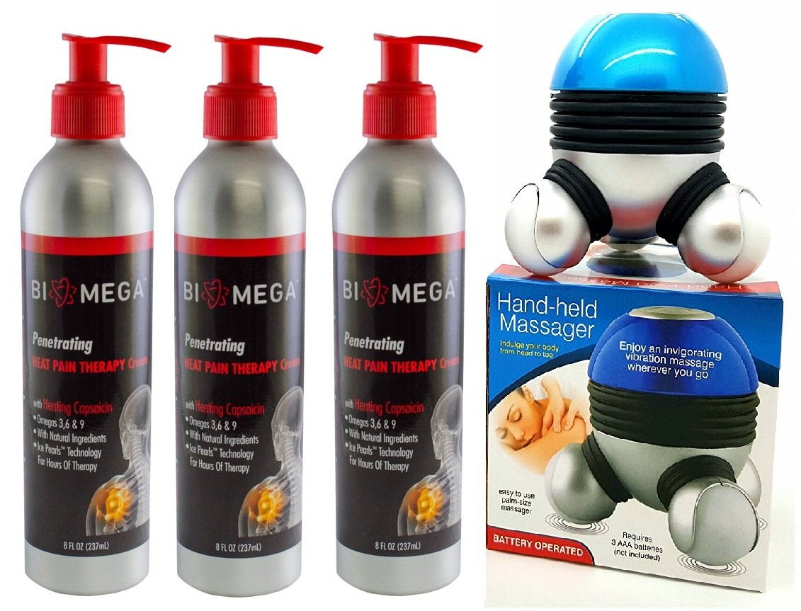 Bio-Mega Penetrating Heat Therapy Cream Pack of 3, With free Hand - Held Massager. by Biomega