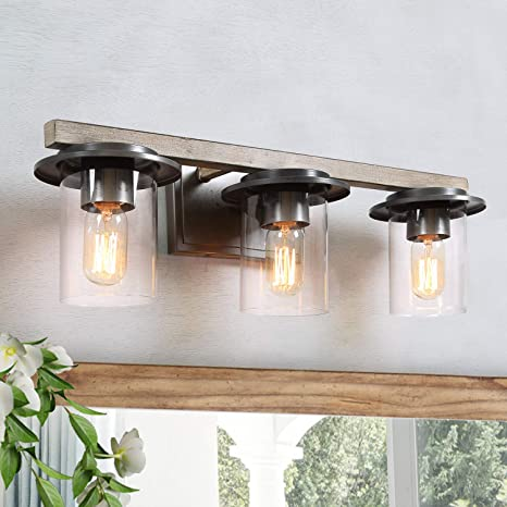 Laluz Bathroom Vanity Lights Faux Wood Bathroom Light Fixtures With Clear Glass Shade For Powder Room Dressing Room Bedroom A03397