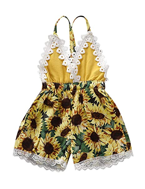 1d77b574d Baby Girl Clothes Backless Lace Romper Floral Shorts Jumpsuit Summer One  Piece Outfit 3-6Months
