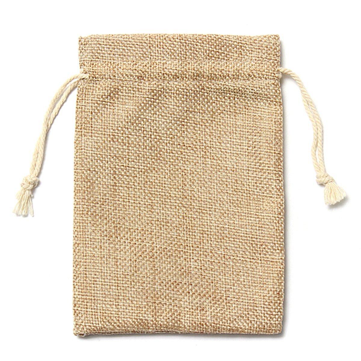 TOOGOO(R) 5pcs Vintage Burlap Jute Sacks Weddings Party Favor Drawstrings Gift Bags