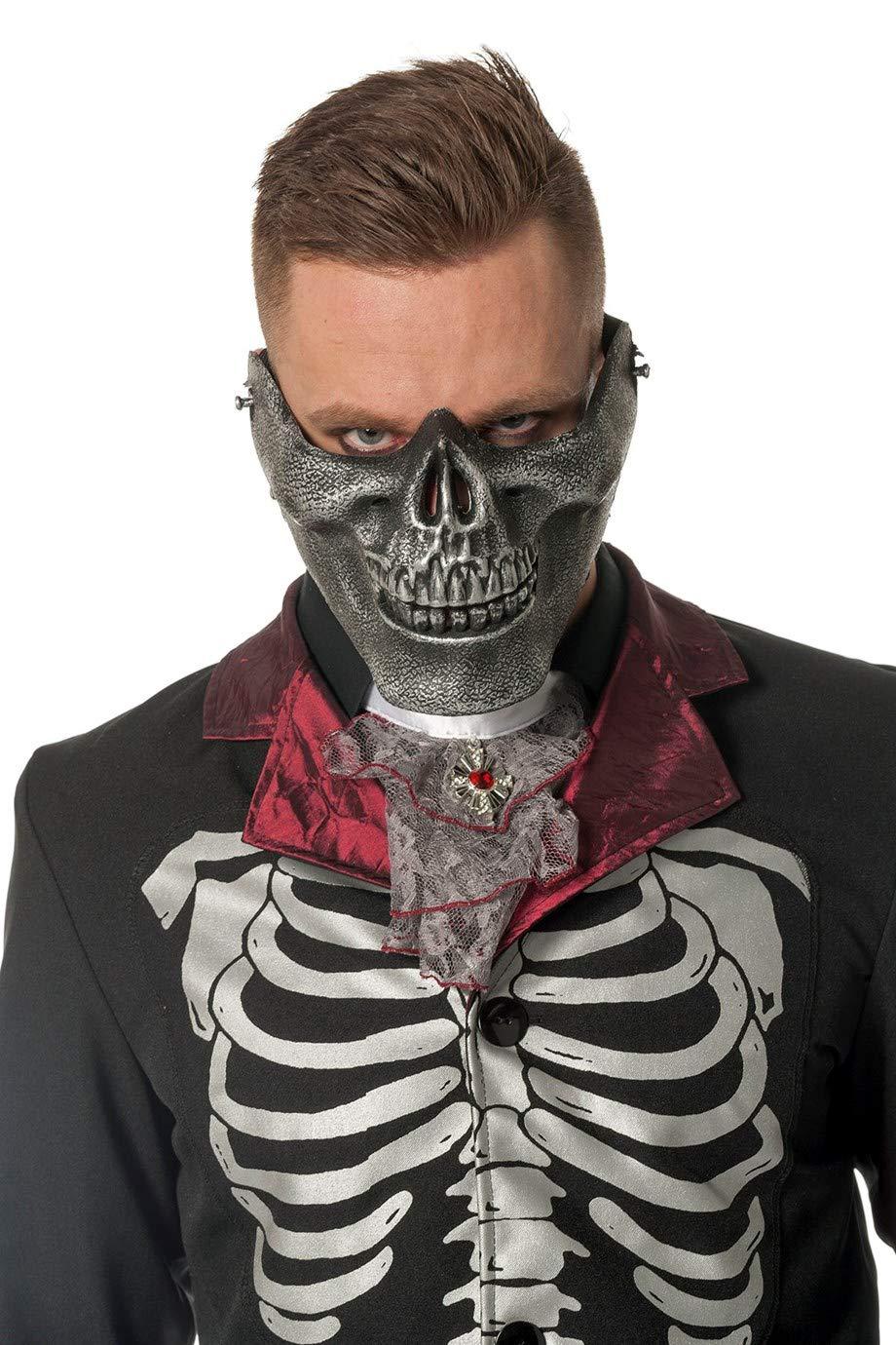 Kostüm Zubehör Totenkopf Maske silber Halloween Karneval Orl