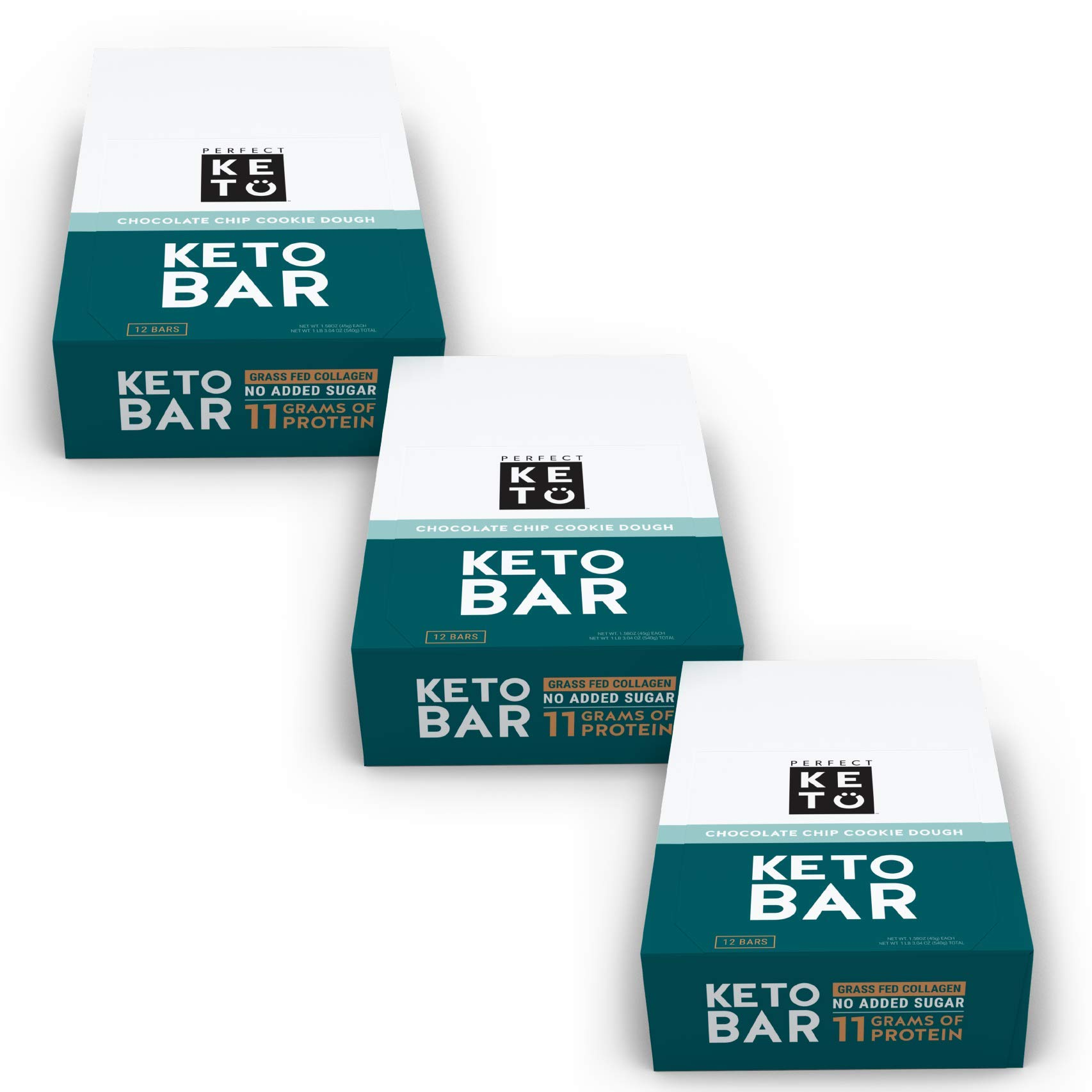 New! Perfect Keto Bar, Keto Snack (12 Count), No Added Sugar. 10g of Protein, Coconut Oil, and Collagen, with a Touch of Sea Salt and Stevia. (36 Bars (3 Boxes), Choc Chip Cookie Dough)