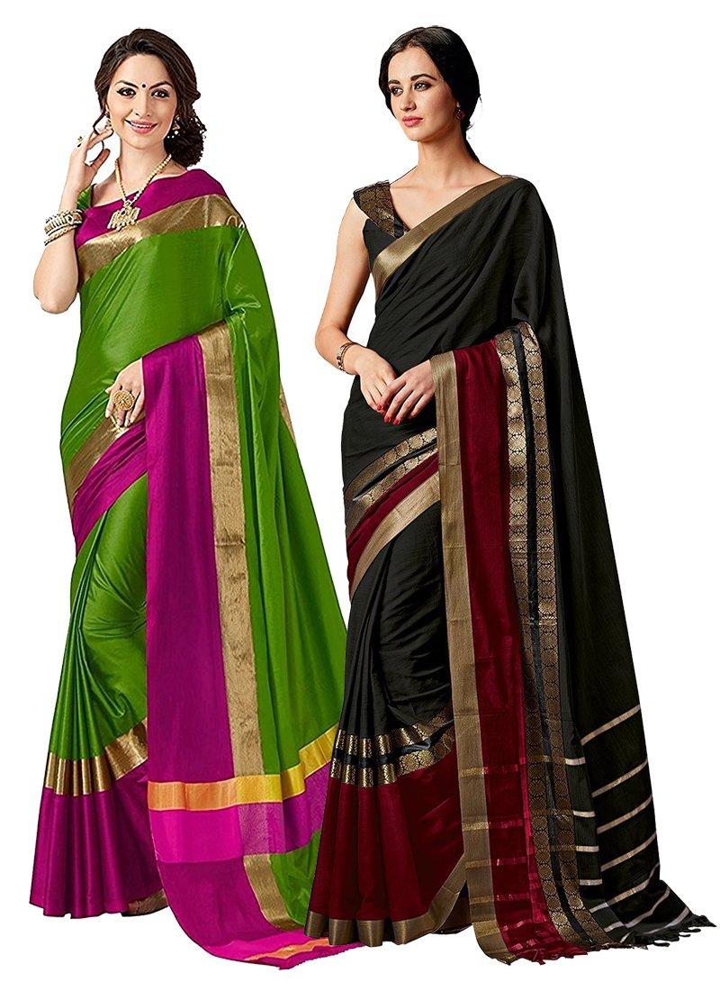 ELINA FASHION Pack Two Sarees Indian Women Cotton Art Silk Printed Weaving Border Saree (Multi 1)