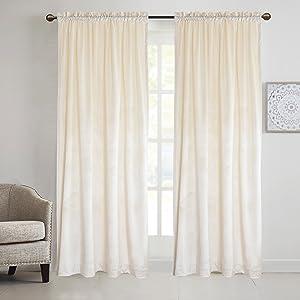 Cherry Home Set of 2 Rod Pocket Super Heavy Velvet Flannel Curtain Drape Panel Blackout for Living Room,52 Wide by 84 Long White-Rod Pocket
