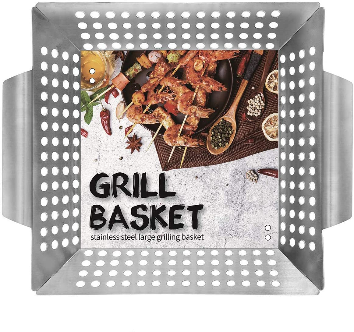 """Ranphykx Vegetable Grill Basket - Safe/Clean Porcelain Enameled BBQ Grilling Basket (Large 12""""x12""""x3"""") for Veggies, Kabobs, Seafood, Meats - Stainless Steel"""