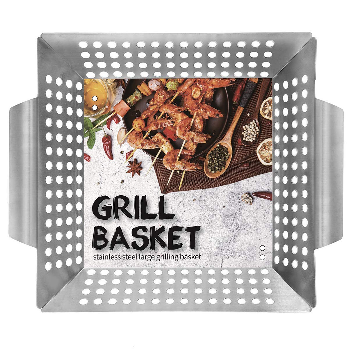 Ranphykx Vegetable Grill Basket - Safe/Clean Porcelain Enameled BBQ Grilling Basket (Large 12''x12''x3'') for Veggies, Kabobs, Seafood, Meats - Stainless Steel by Ranphykx