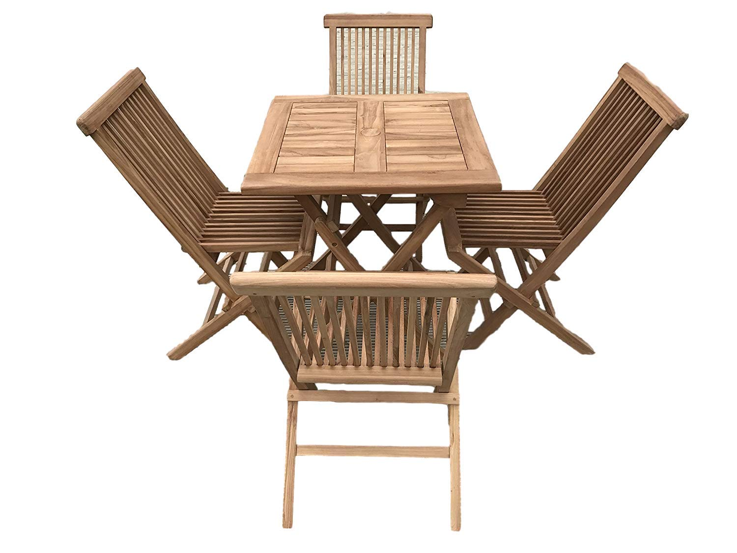 c84e67870cb Patio Essentials Malvern 4 Seater Garden Set - Solid Teak 70cm   2.3ft  Square Folding Bistro Table withFolding Chairs  Amazon.co.uk  Garden    Outdoors